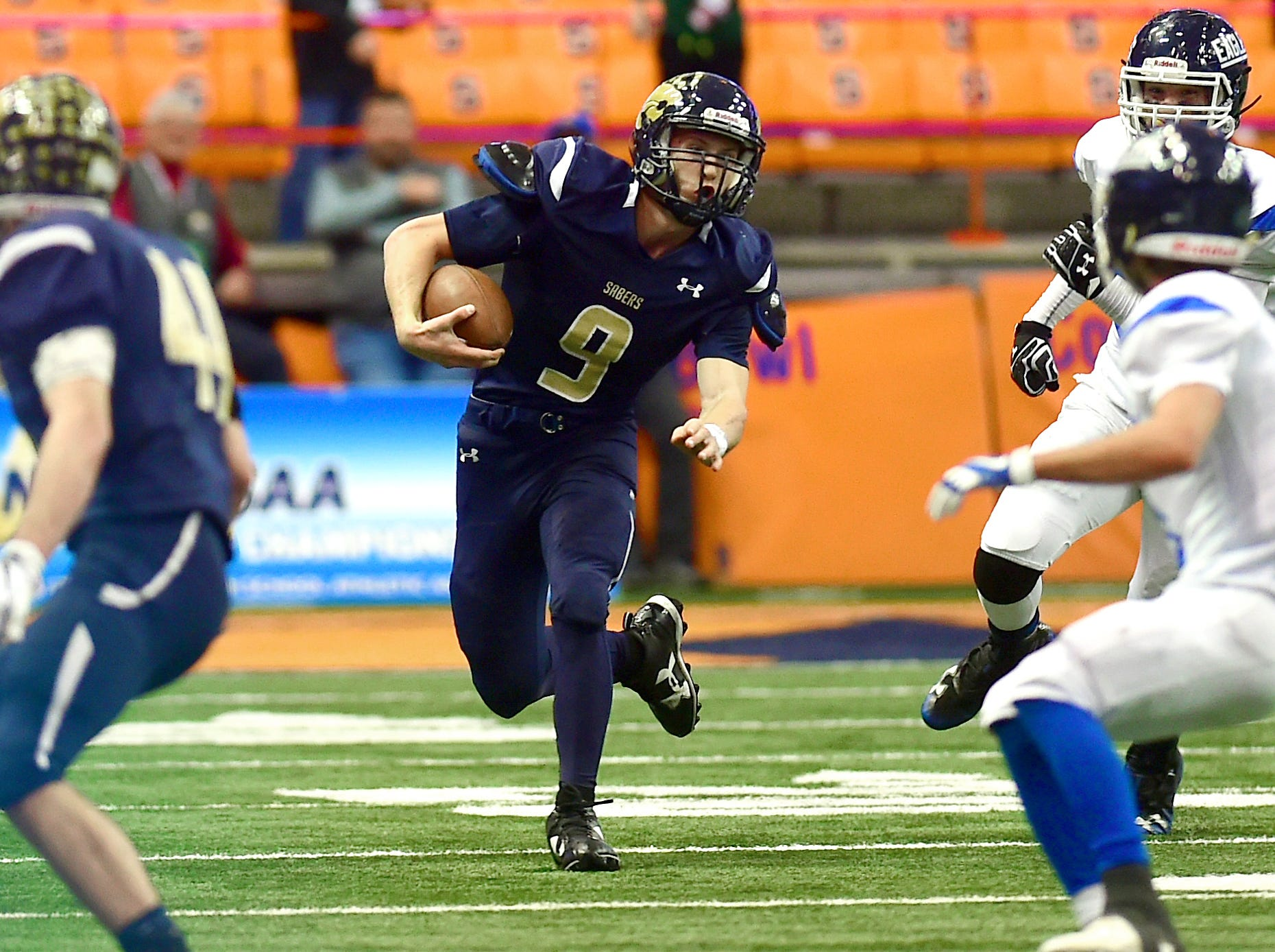 Jarred Freije (9) of Susquehanna Valley during first half of Susquehanna Valley vs. Dobbs Ferry, Class C NYSPHSAA state football final, Carrier Dome, Syracuse. Friday, November 23, 2018.