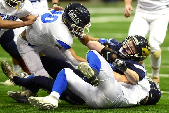 Susquehanna's Valley's Kyle Leonard (32) is tackled by Dobb's Ferry during first half of Susquehanna Valley vs. Dobbs Ferry, Class C NYSPHSAA state football final, Carrier Dome, Syracuse. Friday, November 23, 2018.