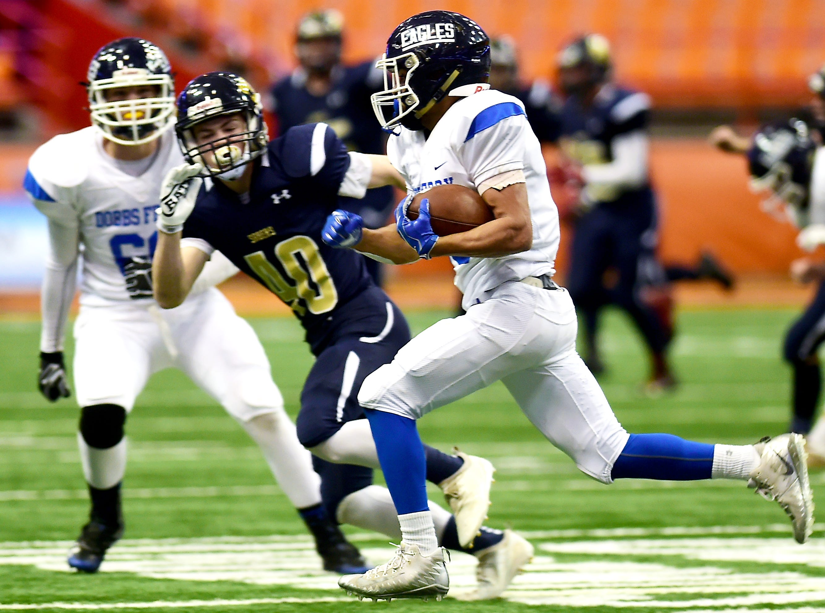 Emilio Nolasco (10) runs with the ball during the first half of Susquehanna Valley vs. Dobbs Ferry, Class C NYSPHSAA state football final, Carrier Dome, Syracuse. Friday, November 23, 2018.