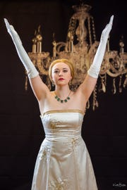 "Micaela Slaeker as Eva Peron in ""Evita."""