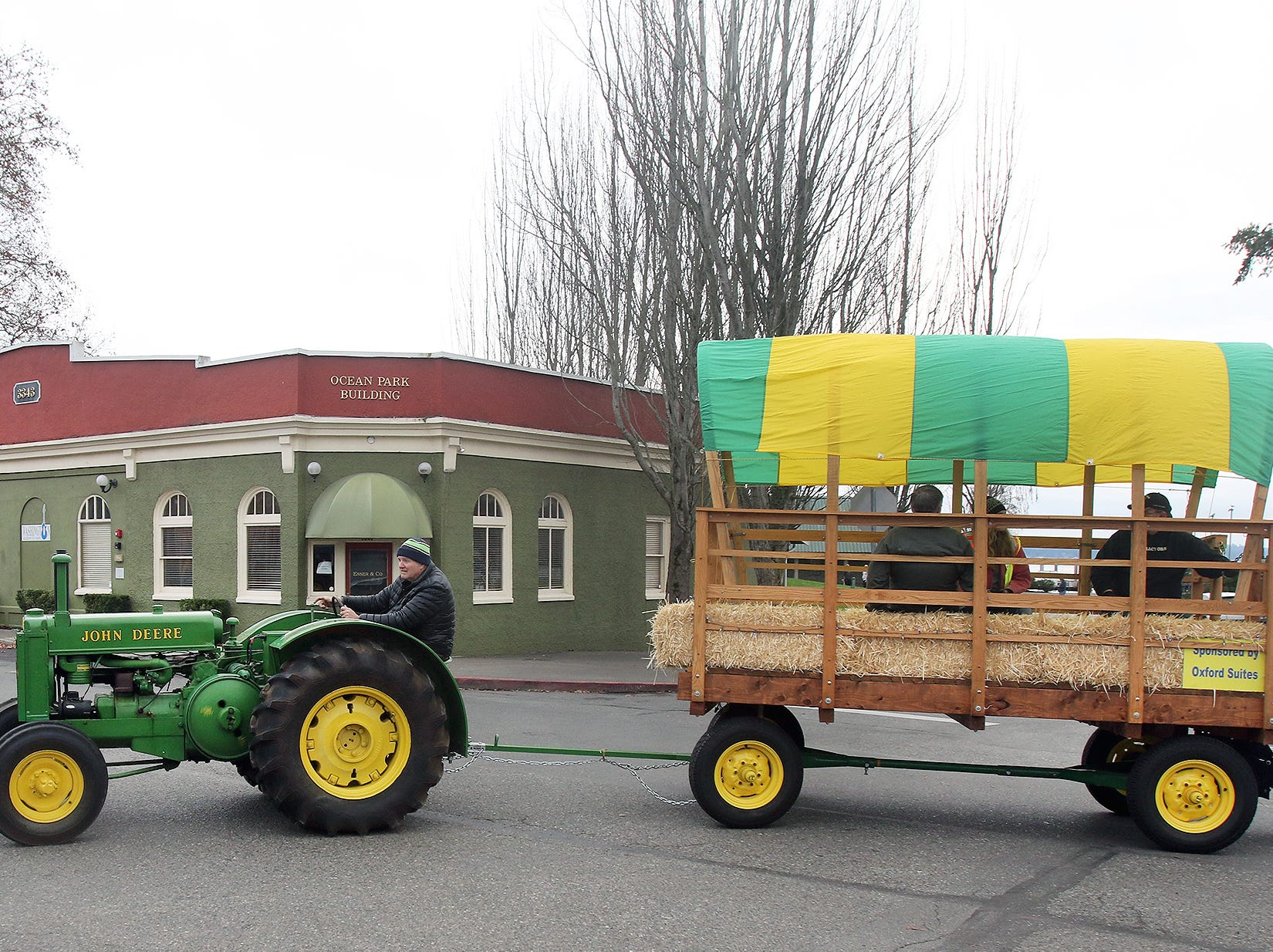 Hayrides through Old Town Silverdale sponsored by the Oxford Suites as part of the Silverdale 64th annual Christmas Tree Lighting event on Saturday, November 24, 2018.