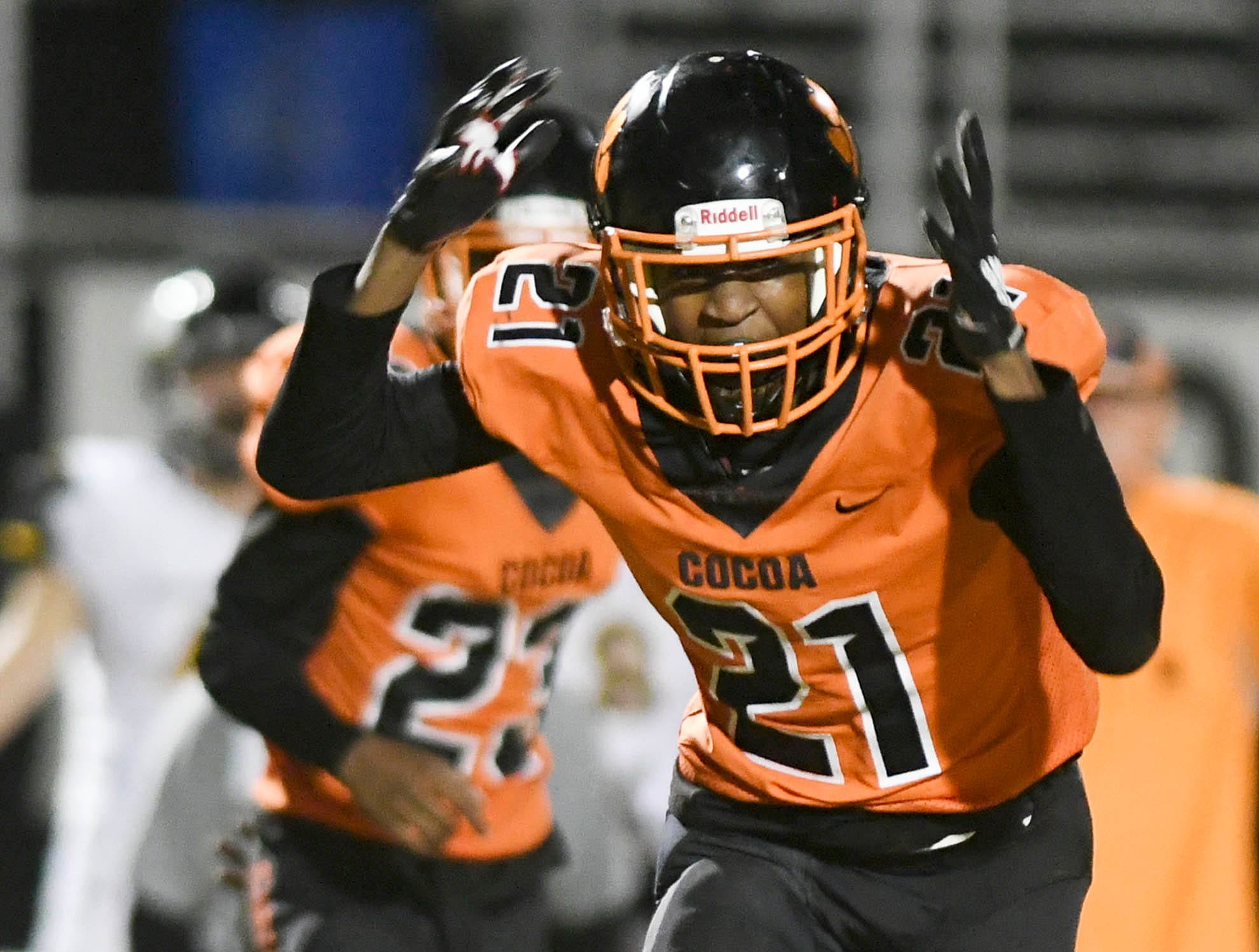 Cedric Hawkins of Cocoa reacts to dropping a sure interception during Friday's regional final.