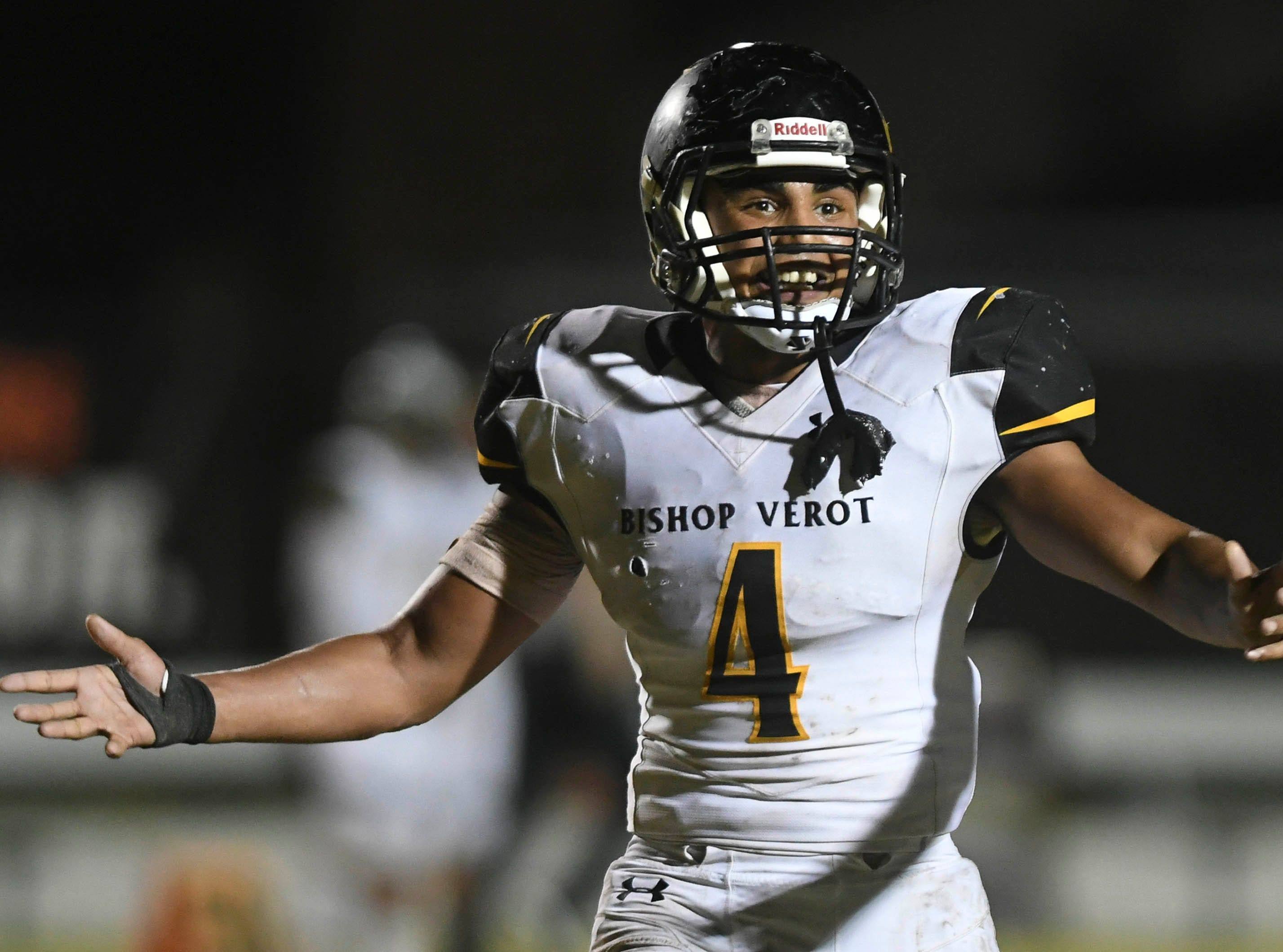 Kai Page of Bishop Verot protests a call during Friday's game against Cocoa at Blake Stadium.