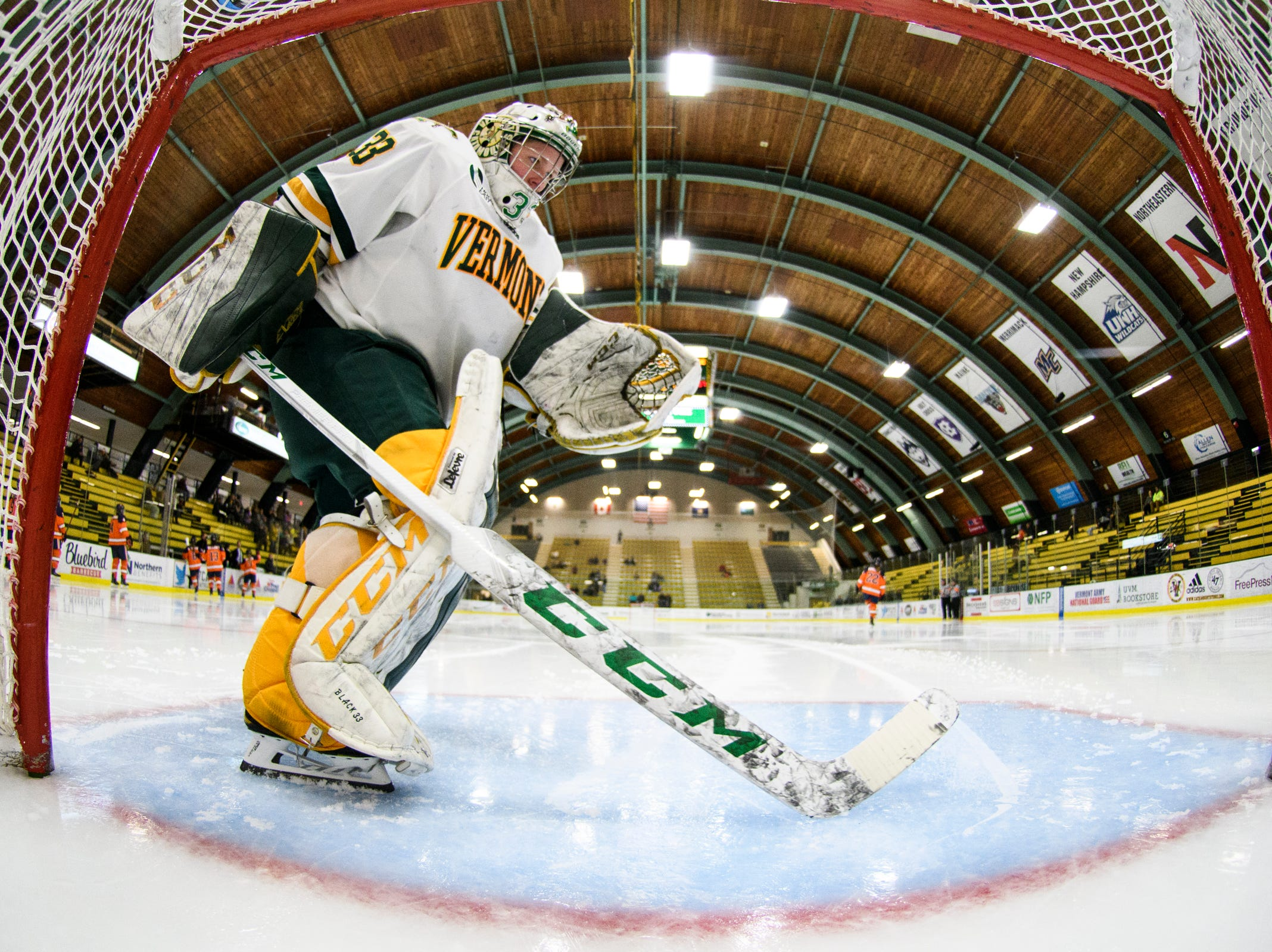 Vermont goalie Melissa Black (33) during the women's hockey game between the Syracuse Orange and the Vermont Catamounts at Gutterson Field House on Friday night November 23, 2018 in Burlington.