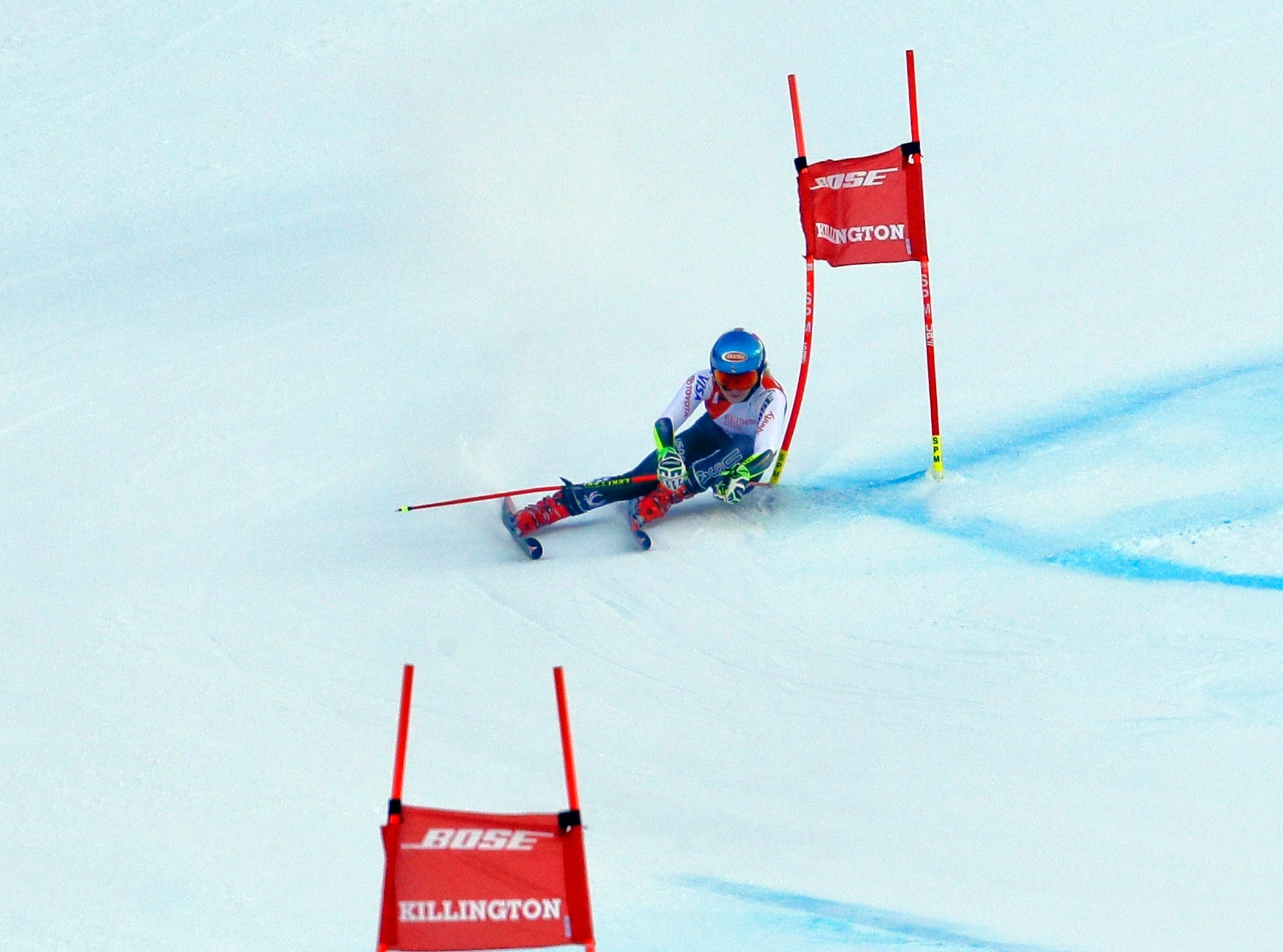 United States' Mikaela Shiffrin competes during the second run of the alpine ski, women's World Cup giant slalom in Killington, Vt., Saturday, Nov. 24, 2018.