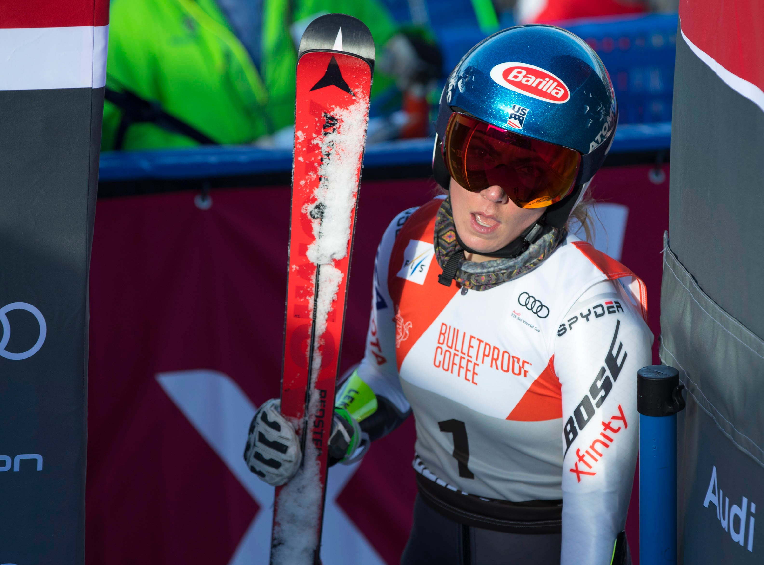 Mikaela Shiffrin of the United States finished fourth in the women's giant slalom of the 2018 Audi FIS Alpine Skiing World Cup races at Killington Resort.