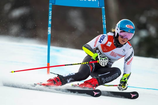 Mikaela Shiffrin of the United States during the first run of the women's giant slalom of the 2018 Audi FIS Alpine Skiing World Cup races at Killington Resort.