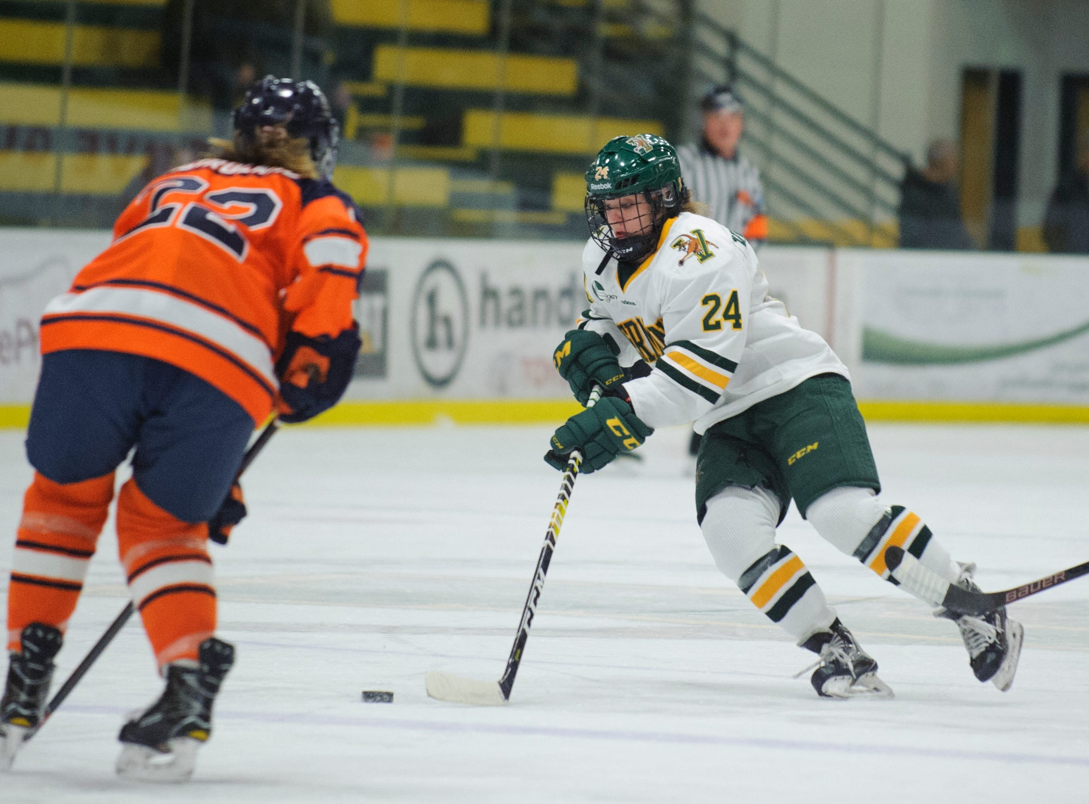 Vermont's Saana Volkama (24) skates with the puck during the women's hockey game between the Syracuse Orange and the Vermont Catamounts at Gutterson Field House on Friday night November 23, 2018 in Burlington.