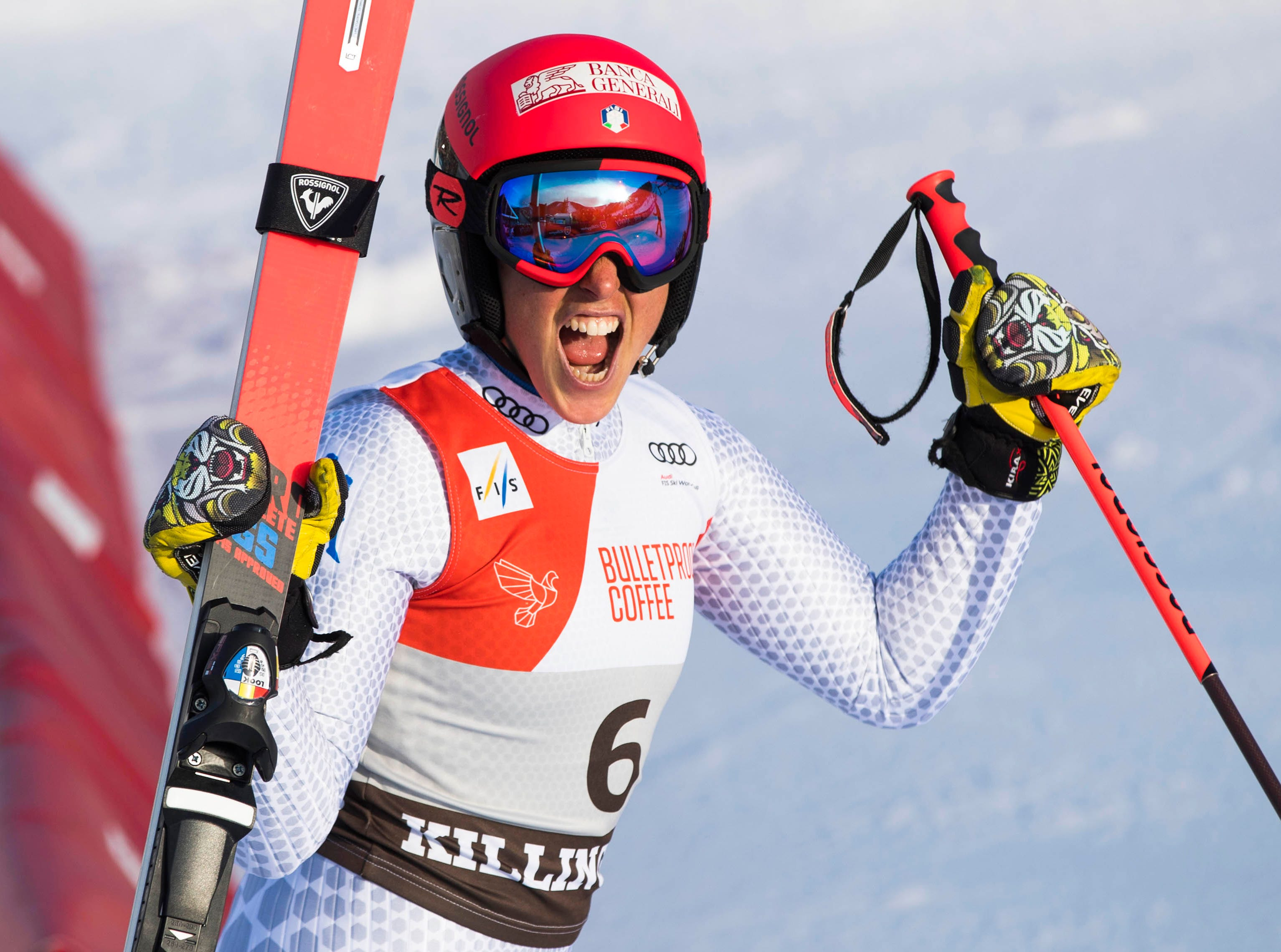 Federica Brignone of Italy wins the women's giant slalom in the 2018 Audi FIS Alpine Skiing World Cup races at Killington Resort.