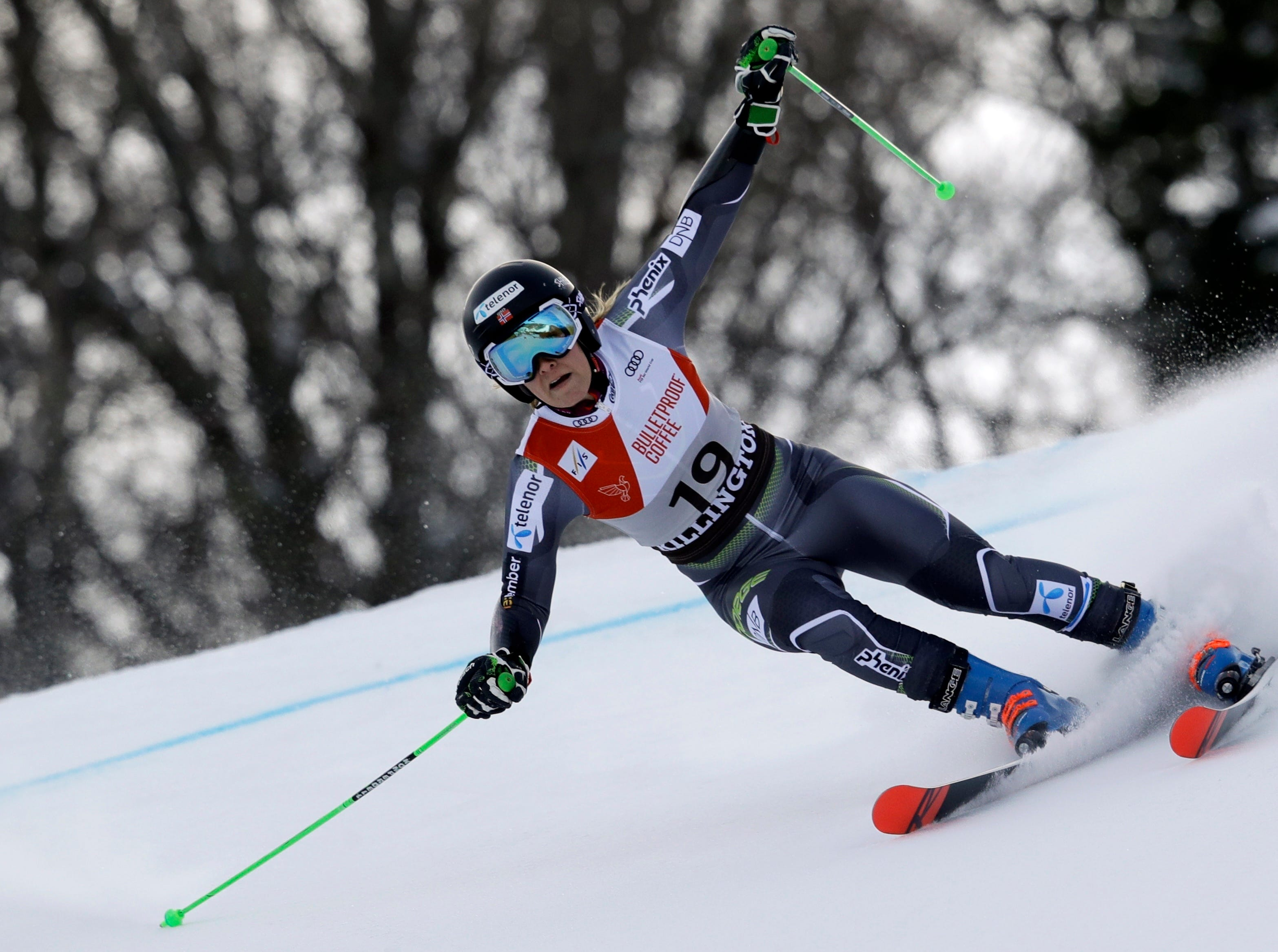 Norway's Nina Haver Loeseth competes during the first run of the alpine ski, women's World Cup giant slalom in Killington, Vt., Saturday, Nov. 24, 2018.