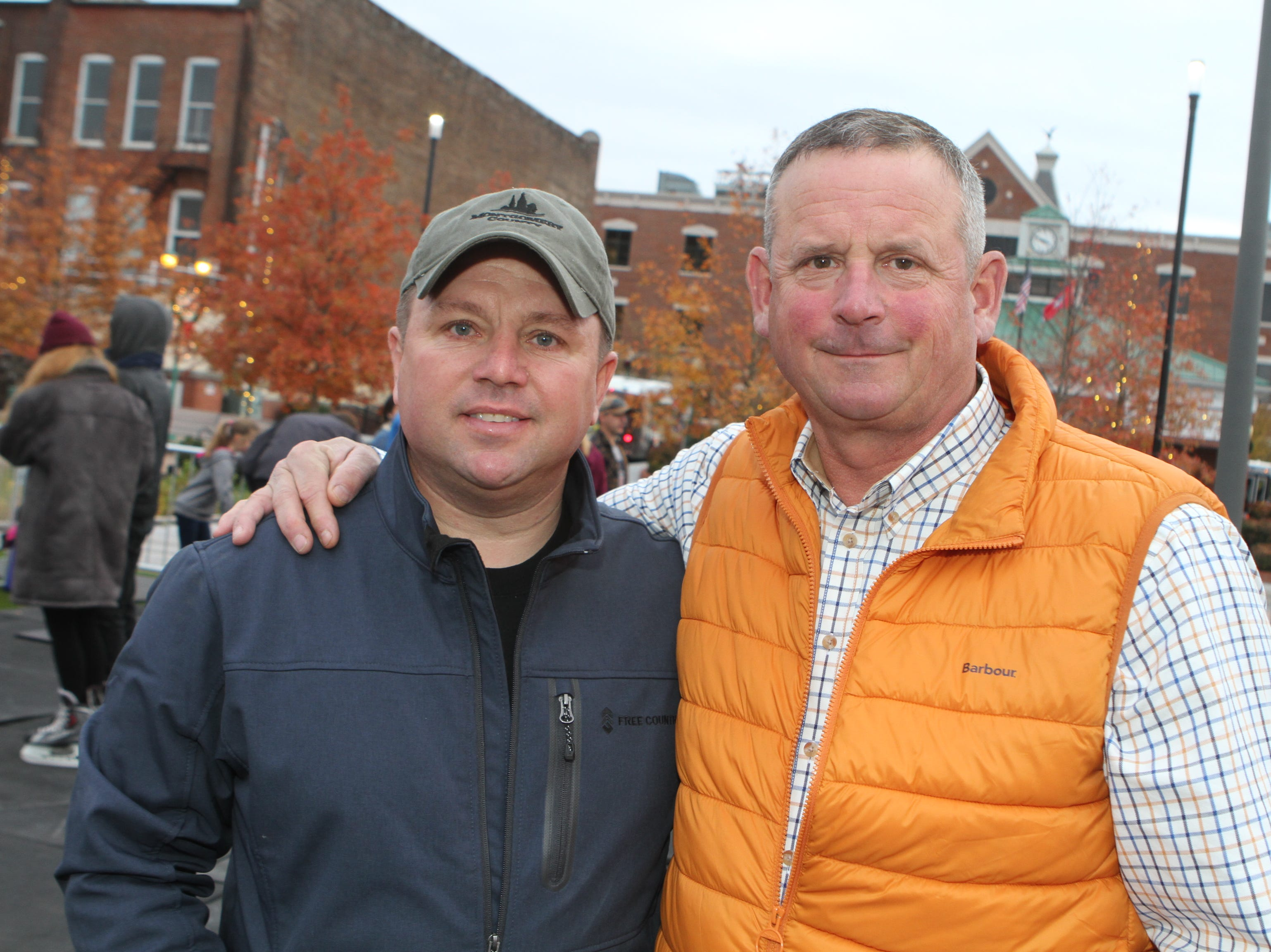Norman Quirion and Montgomery County Mayor Jim Durrett at the Downtown Commons Winter Ice Rink opening on Friday, Nov. 23, 2018.