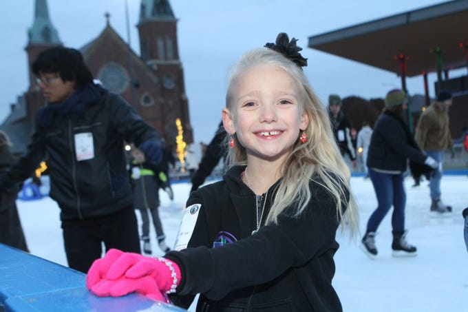 Ava Jenson at the Downtown Commons Winter Ice Rink opening on Friday, Nov. 23, 2018.