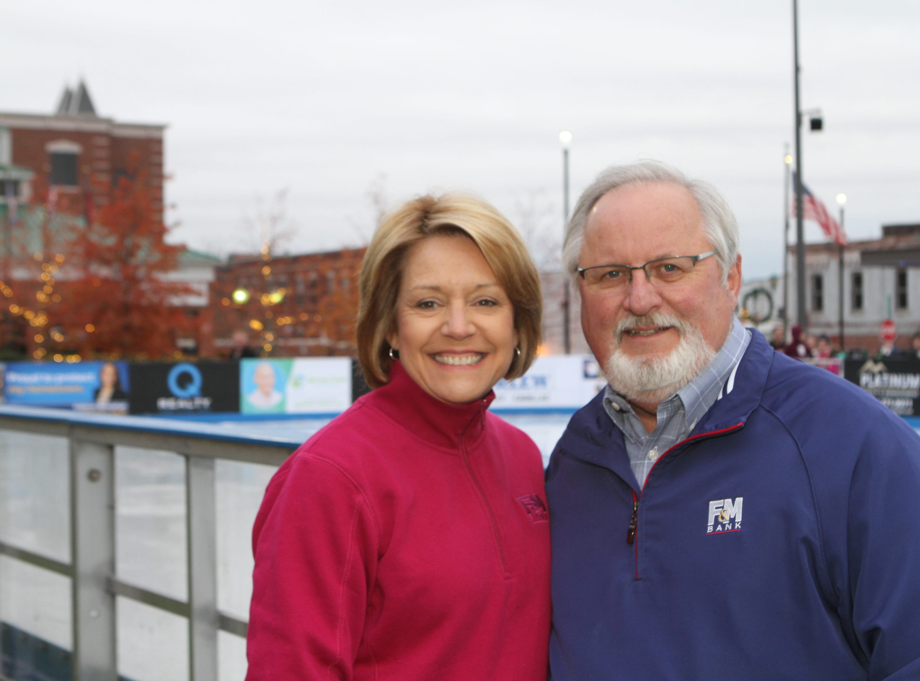 Cindy and Sammy Stuard at the opening of Clarksville's Downtown Commons Winter Ice Rink on Friday, Nov. 23, 2018.