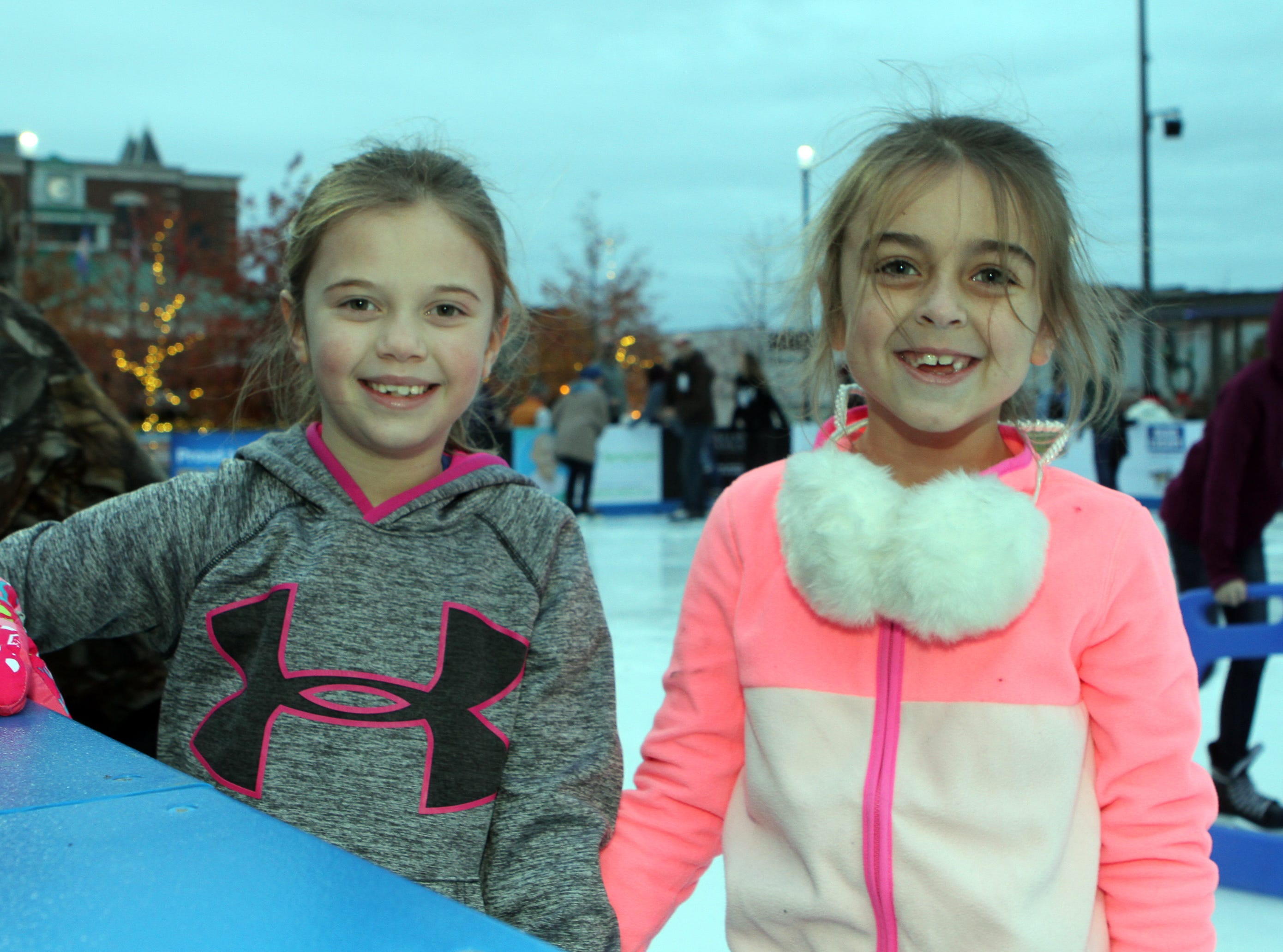 Lilly Black and Tenley Smith at the Downtown Commons Winter Ice Rink opening on Friday, Nov. 23, 2018.