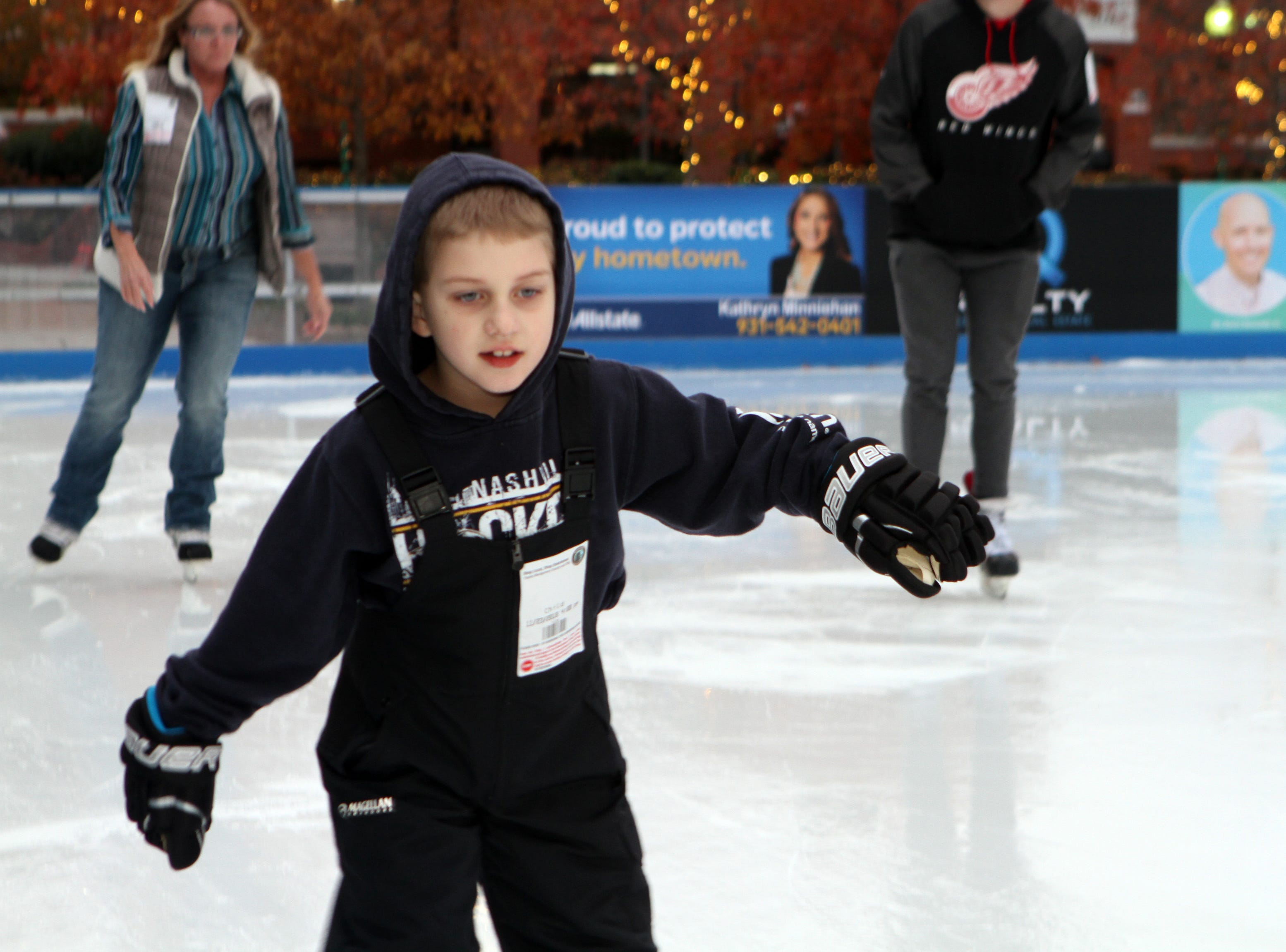 David Trythall was the first person on the ice at the Downtown Commons Winter Ice Rink opening on Friday, Nov. 23, 2018.