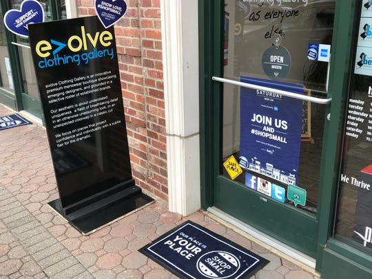 Evolve Clothing Gallery on Main Street in Somerville on Small Business Saturday 2018.
