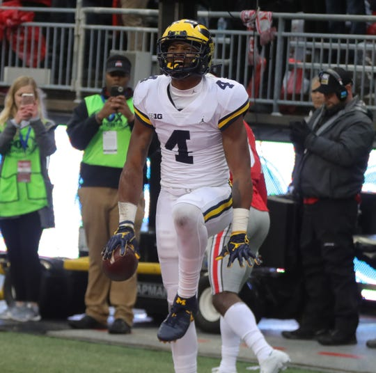 Michigan receiver Nico Collins celebrates his touchdown against Ohio State, Nov. 24, 2018 at Ohio Stadium in Columbus, Ohio.