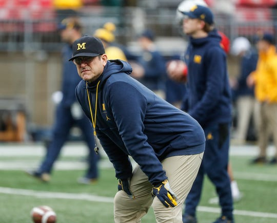 Jim Harbaugh before the 62-39 loss at Ohio Stadium on Nov. 24.