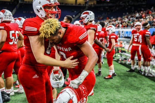 Chippewa Valley players celebrate their win against Clarkston during the Division 1 MHSAA State Championship at Ford Field in Detroit on Saturday, Nov. 24, 2018.