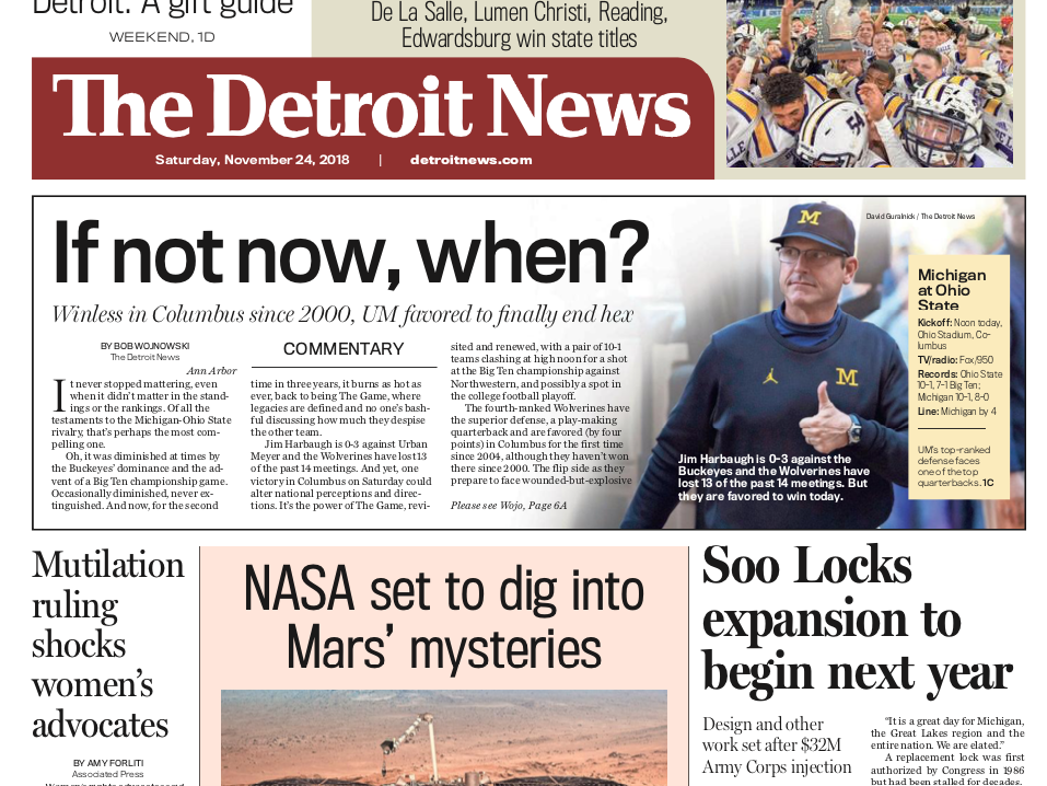 The front page of the Detroit News on November 24, 2018
