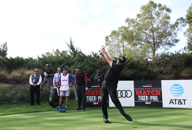 Phil Mickelson plays a shot during The Match: Tiger vs Phil at Shadow Creek Golf Course.