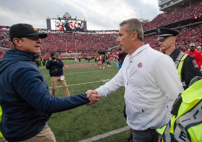 """Urban Meyer's had a winning record. A really phenomenal record everywhere he's been,"" Jim Harbaugh said on Tim Kawakami's podcast. ""But also, controversy follows everywhere he's been."""