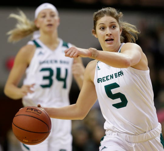 UWGB guard Laken James (5) has stepped up as a senior this season. She had 11 points and 5 steals against Cleveland State on Thursday.