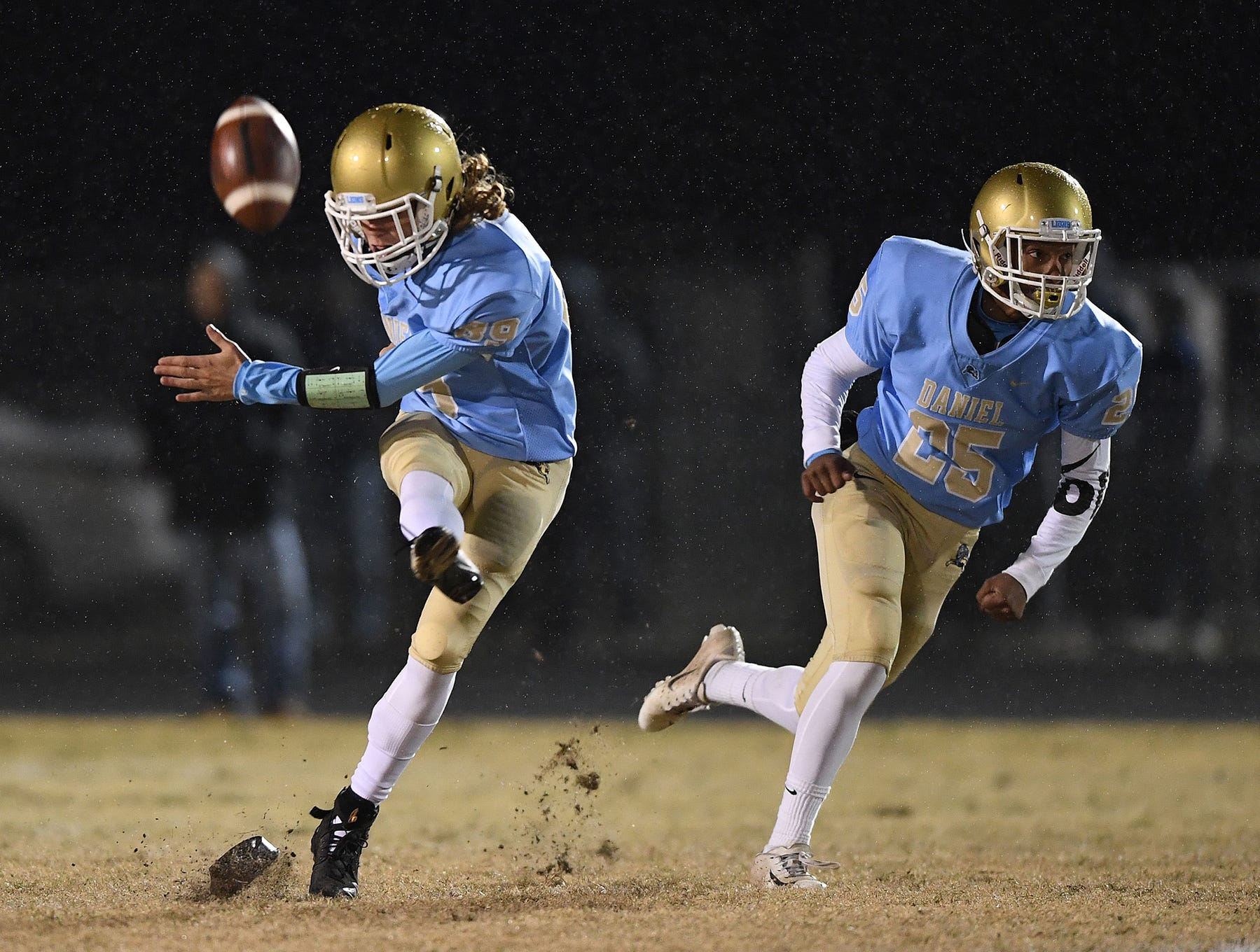 Daniel's Clay Mohr (89) kicks off to Wren during the third round of the class AAAA playoffs Friday, November 23, 2018, at Daniel High in Central.