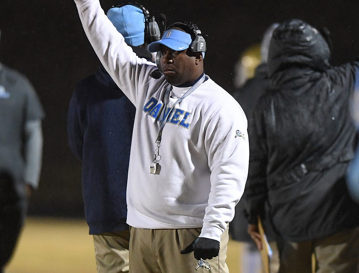 Daniel head coach Jeff Fruster coaches against Wren during the third round of the class AAAA playoffs Friday, November 23, 2018, at Daniel High in Central.