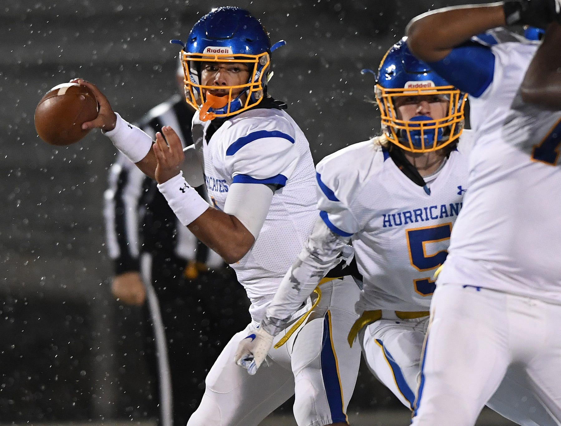 Wren quarterback Tyrell Jackson (1)  passes against Daniel during the third round of the class AAAA playoffs Friday, November 23, 2018, at Daniel High in Central.