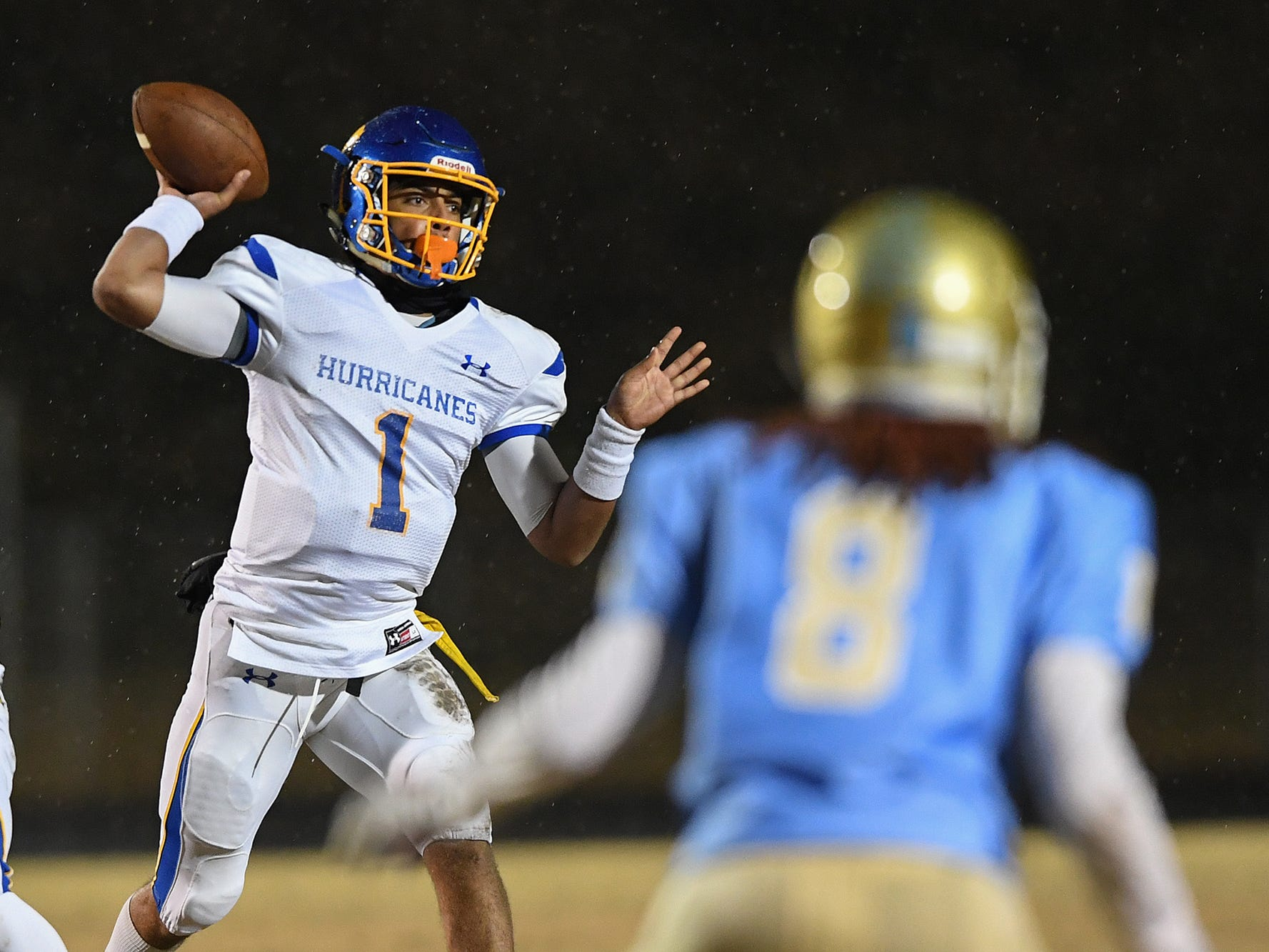 Wren quarterback Tyrell Jackson (1)  passes against Daniel during the playoffs. Jackson threw for 104 yards in the North-South all-star game.