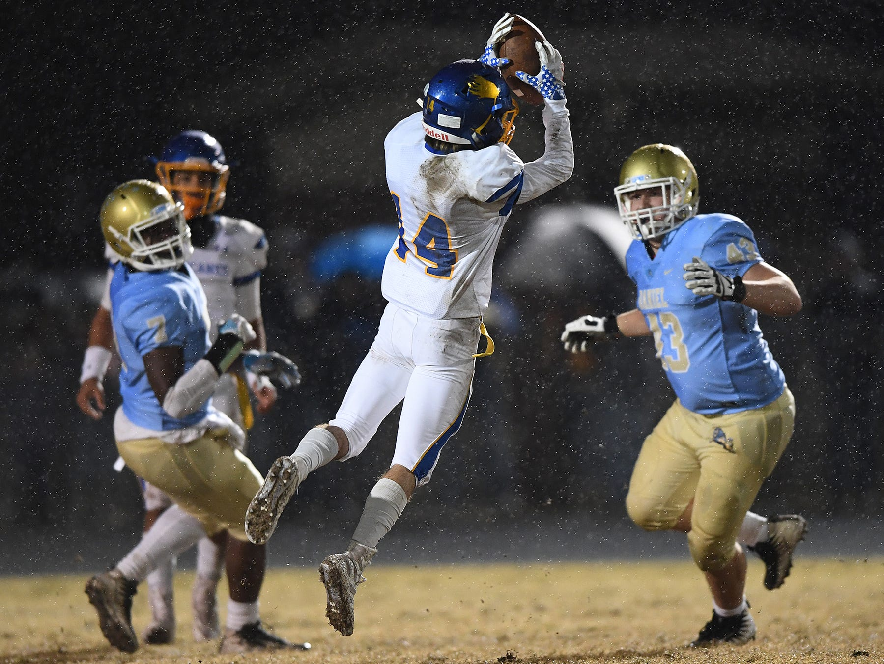 Wren's Luke Bryant (14) makes a reception against Daniel during the third round of the class AAAA playoffs Friday, November 23, 2018, at Daniel High in Central.