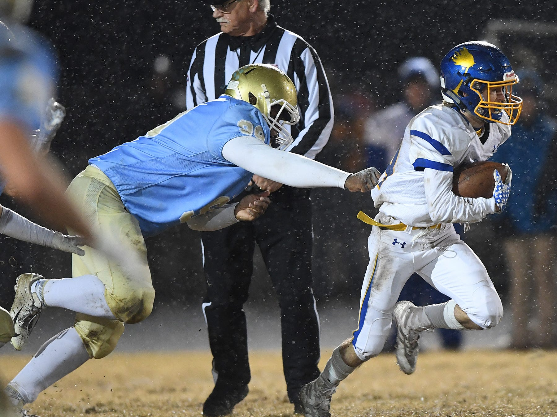 Wren's Luke Bryant (14) carries against Daniel during the third round of the class AAAA playoffs Friday, November 23, 2018, at Daniel High in Central.