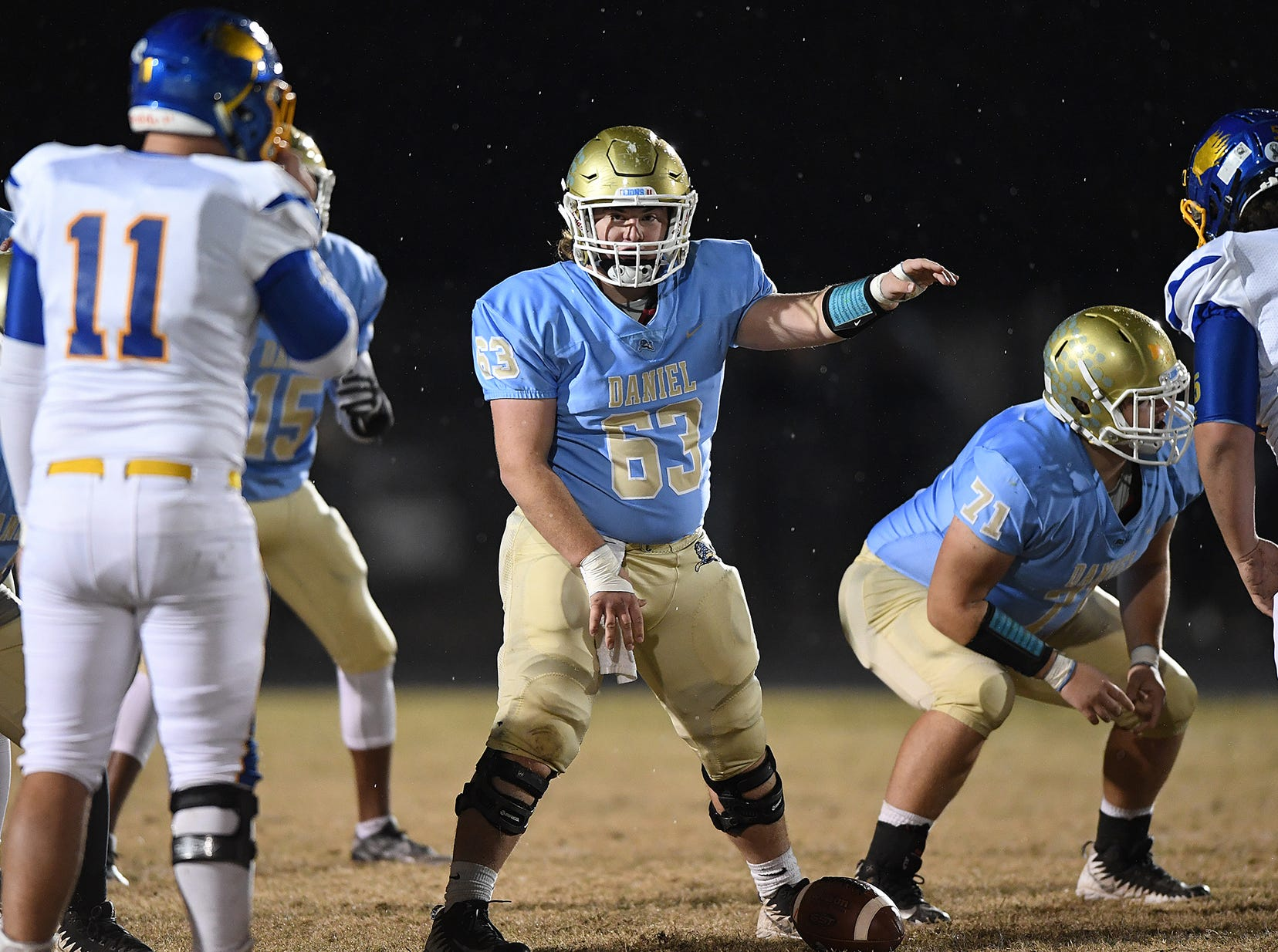 Daniel's Dylan Shiflett (63) plays against Wren during the third round of the class AAAA playoffs Friday, November 23, 2018, at Daniel High in Central.