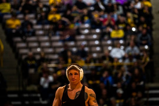Iowa's Cash Wilcke is introduced before his match at 184 during a Big Ten Conference NCAA wrestling dual on Saturday, Nov. 24, 2018, at Carver-Hawkeye Arena in Iowa City.