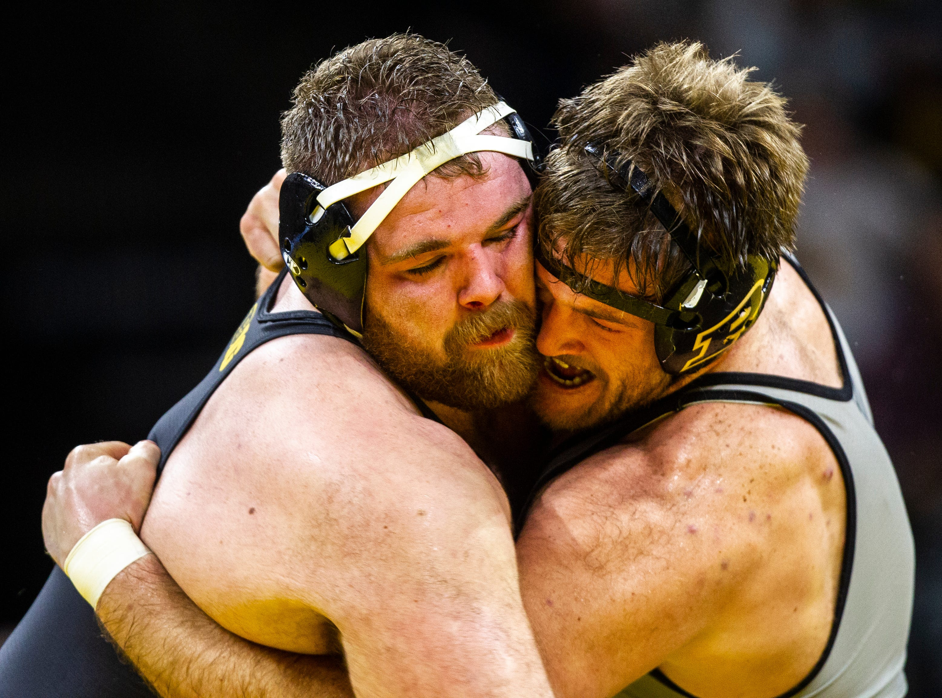Iowa's Aaron Costello wrestles Purdue's Jacob Aven at 285 during a Big Ten Conference NCAA wrestling dual on Saturday, Nov. 24, 2018, at Carver-Hawkeye Arena in Iowa City.
