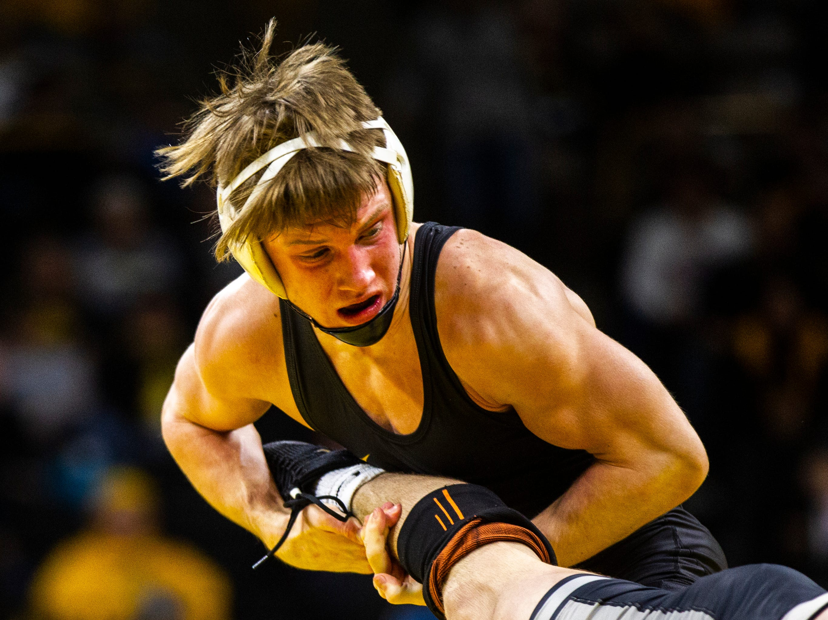 Iowa's Max Murin wrestles Purdue's Nate Limmex at 141 during a Big Ten Conference NCAA wrestling dual on Saturday, Nov. 24, 2018, at Carver-Hawkeye Arena in Iowa City.