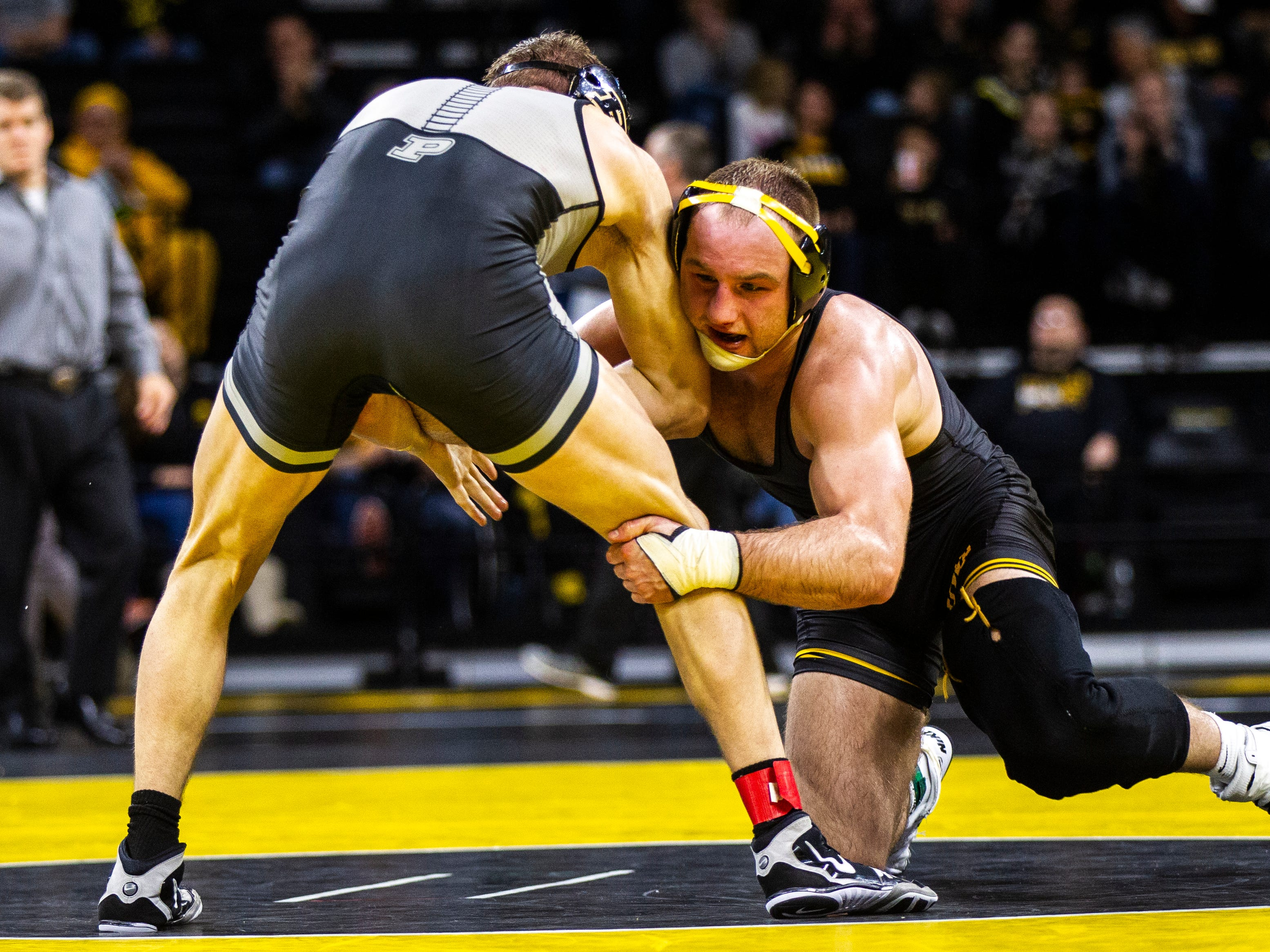 Iowa's Alex Marinelli wrestles Purdue's Cole Wysocki at 165 during a Big Ten Conference NCAA wrestling dual on Saturday, Nov. 24, 2018, at Carver-Hawkeye Arena in Iowa City.