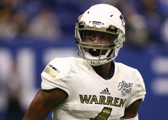 Warren Central's wide receiver David Bell in the first half of the IHSAA Class 6A state final game against Carmel at Lucas Oil Stadium in Indianapolis, Ind., Friday, Nov. 23, 2018.