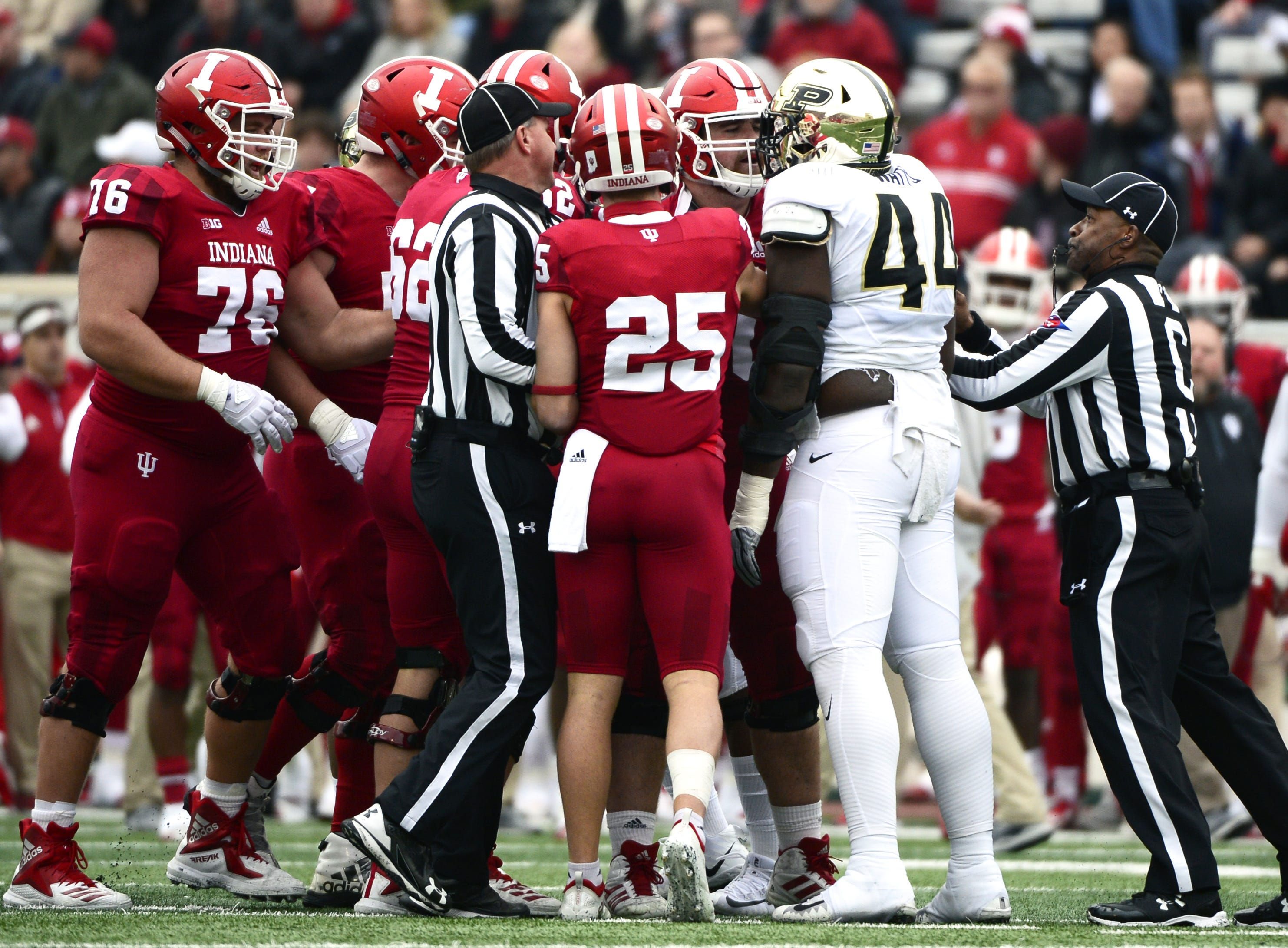 Indiana and Purdue scuffle during the game against Purdue at Memorial Stadium in Bloomington Ind., on Saturday, Nov. 24, 2018.