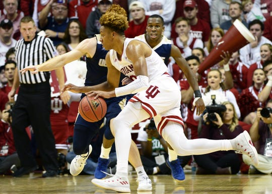 Indiana Hoosiers guard Romeo Langford (0) dribbles the ball during the game against UC Davis at Simon Skjodt Assembly Hall in Bloomington Ind., on Friday, Nov. 23, 2018.