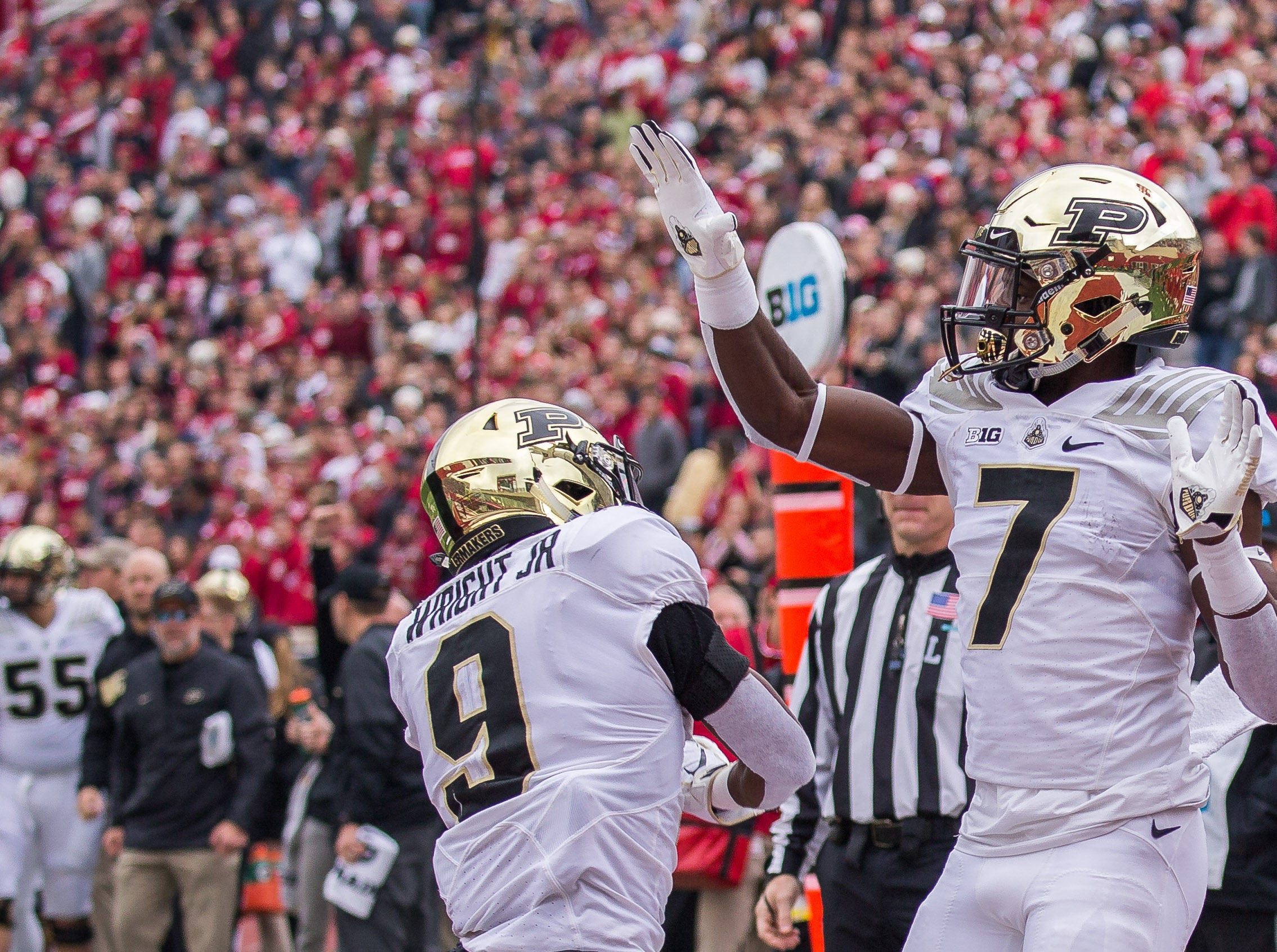 Purdue Boilermakers wide receiver Isaac Zico (7) celebrates with wide receiver Terry Wright (9) after a touchdown in the first quarter against the Indiana Hoosiers at Memorial Stadium.