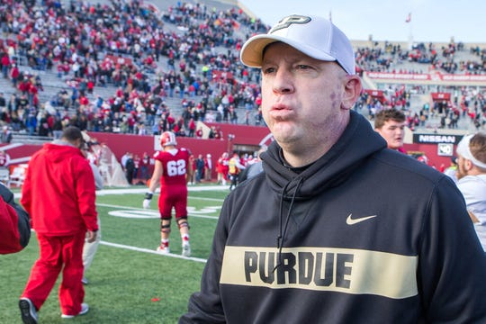 Purdue Boilermakers head coach Jeff Brohm reacts after a game against the Indiana Hoosiers at Memorial Stadium.