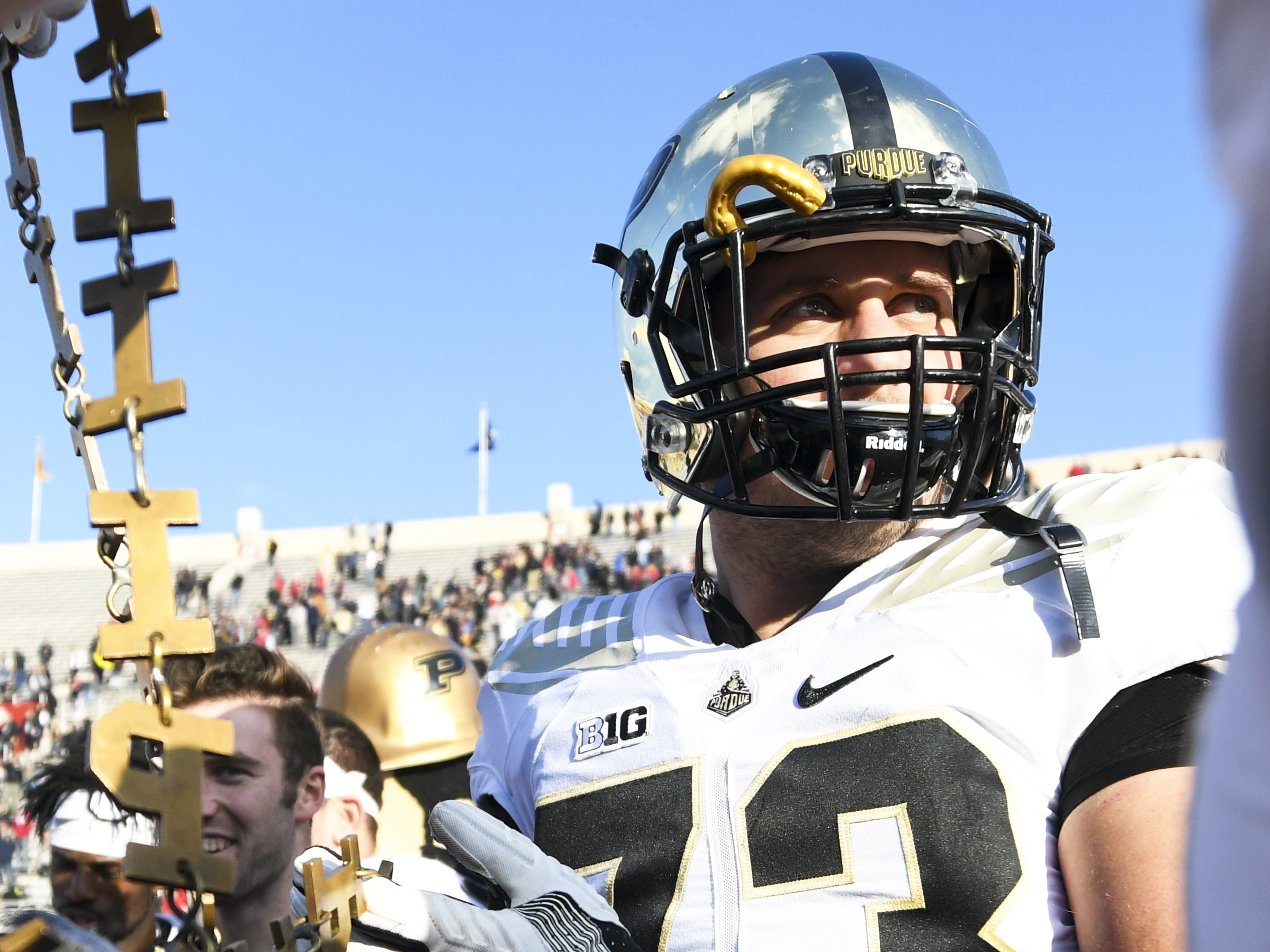 Purdue Boilermakers offensive lineman Ethan Smart (73) celebrates after defeating Indiana at Memorial Stadium in Bloomington Ind., on Saturday, Nov. 24, 2018.