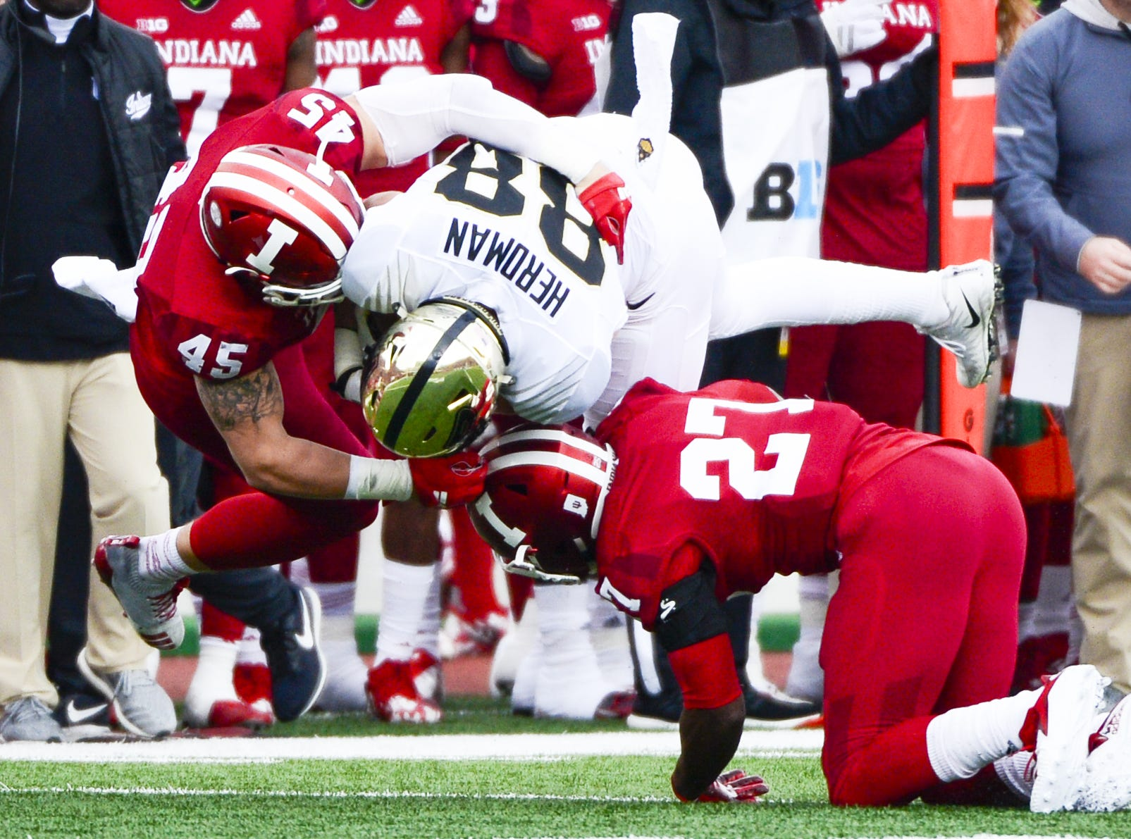 Indiana Hoosiers linebacker T.D. Roof (45) makes a tackle during the game against Purdue at Memorial Stadium in Bloomington Ind., on Saturday, Nov. 24, 2018.