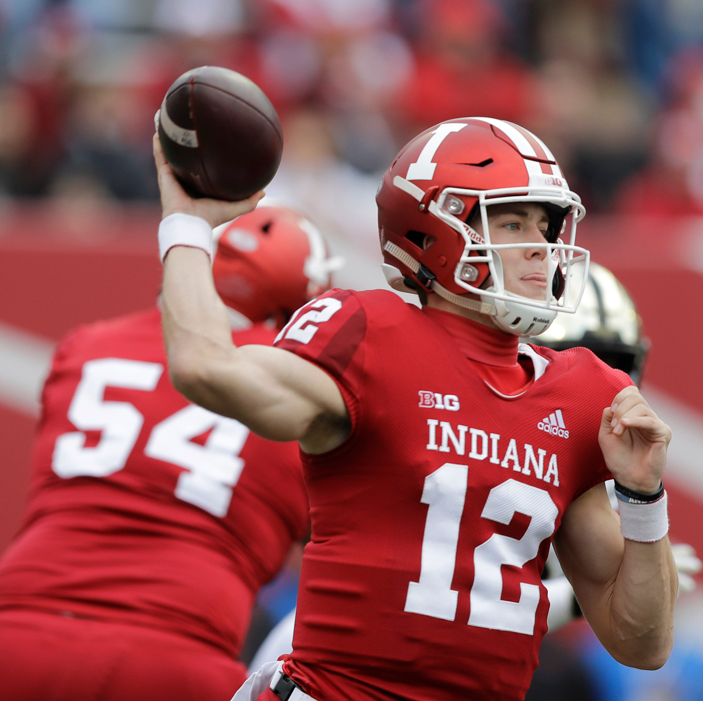 Indiana quarterback Peyton Ramsey throws during...