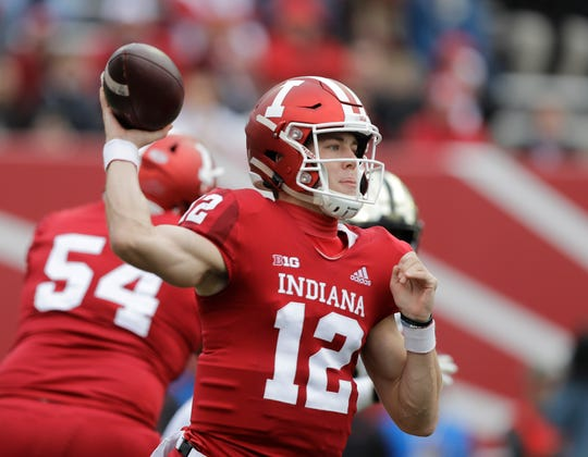 Indiana quarterback Peyton Ramsey throws during the first half of an NCAA college football game against Purdue, Saturday, Nov. 24, 2018, in Bloomington, Ind. (AP Photo/Darron Cummings)