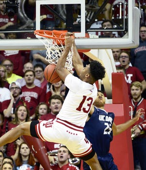 Indiana Hoosiers forward Juwan Morgan (13) dunks the ball during the game against UC Davis at Simon Skjodt Assembly Hall in Bloomington Ind., on Friday, Nov. 23, 2018.