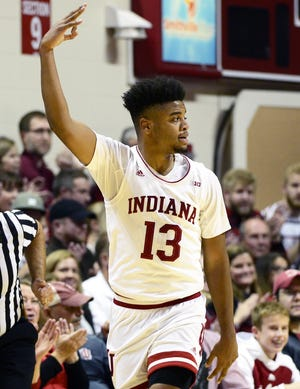 Indiana Hoosiers forward Juwan Morgan (13) celebrates after making a shot during the game against UC Davis at Simon Skjodt Assembly Hall in Bloomington Ind., on Friday, Nov. 23, 2018.