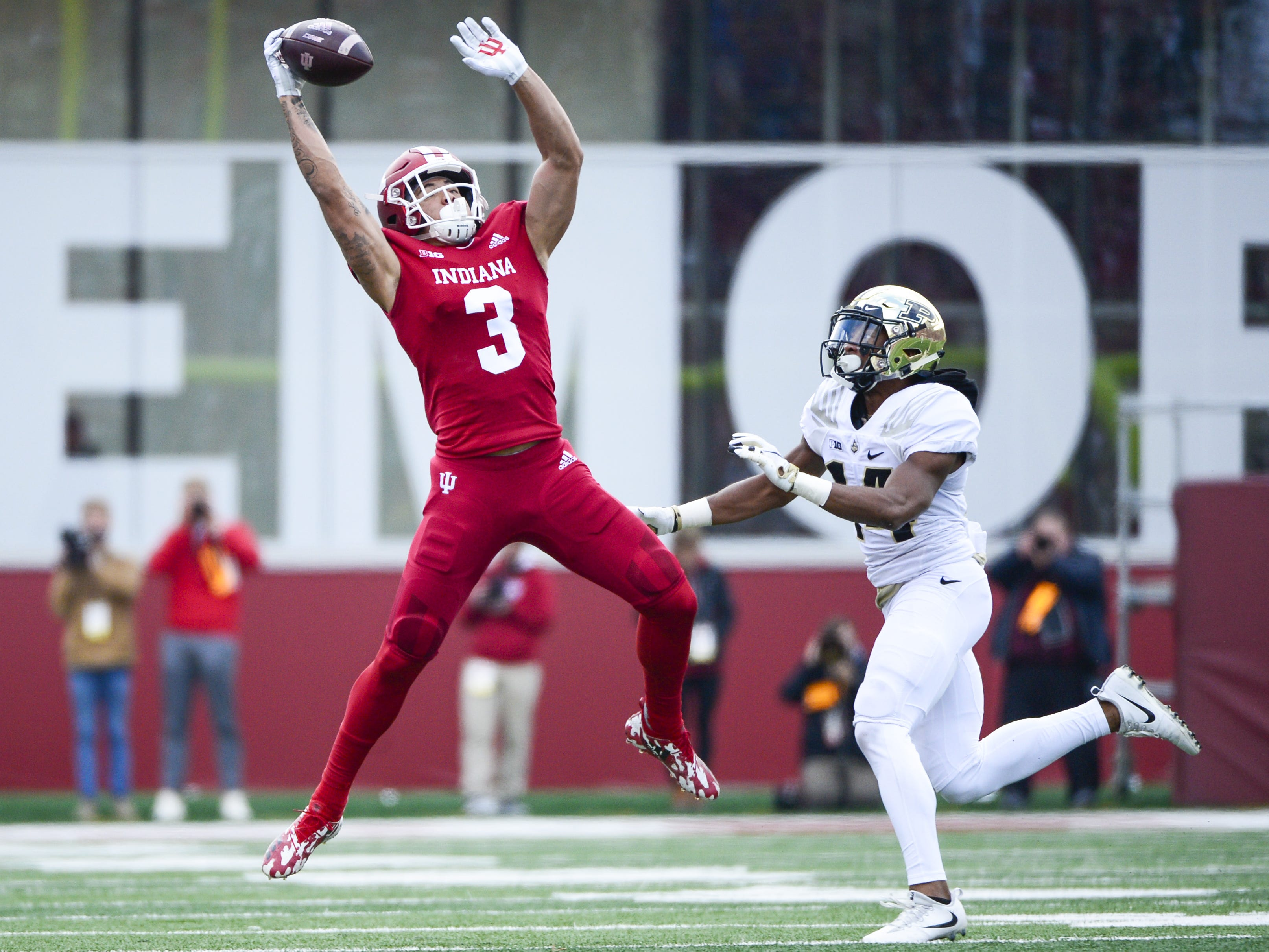 Indiana Hoosiers wide receiver Ty Fryfogle (3) jumps to a catch a pass during the game against Purdue at Memorial Stadium in Bloomington Ind., on Saturday, Nov. 24, 2018.